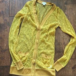 Rodarte for Target yellow lace cardigan Sz XS